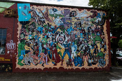 Street Art Superheroes. Mural of superheroes on the side of business in Olympia, Washington Royalty Free Stock Photography