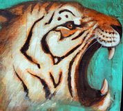 Street art tiger royalty free stock photos