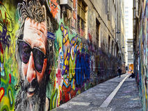 Street Art Union Lane Melbourne 3. Located in the heart of Melbourne's retail precinct, Union Lane is something of an anomaly. There aren't any of royalty free stock image