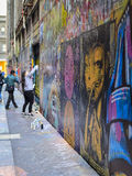 Street Art Union Lane Melbourne 2. Located in the heart of Melbourne's retail precinct, Union Lane is something of an anomaly. There aren't any of royalty free stock photo