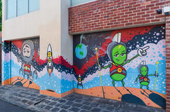 Street art by an unknown artist in Collingwood, Melbourne. Street art by an unknown artist in the Melbourne, Australia inner city suburb of Collingwood, on 8 royalty free stock photo