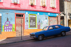 Street Art and Vintage Car Stock Image