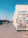 Street art wall, graffiti in a big city on bridge stock photography