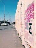 Street art wall, graffiti in a big city on bridge royalty free stock photography