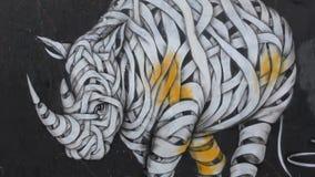 Street art. Wall graffiti - Rhino. stock video