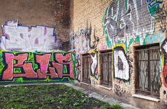 Street art, walls with colorful graffiti Royalty Free Stock Images