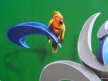 Street art  - yellow bird Stock Photo