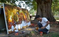 Street Artist drawing Kandy Perahara Stock Photo