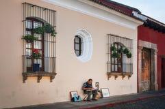 Street Artist in Antigua, Guatemala royalty free stock image