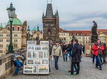 Street Artist on Charles Bridge, Prague. Royalty Free Stock Images