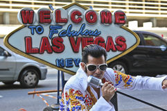 Street artist imitates Elvis Presley Royalty Free Stock Photography