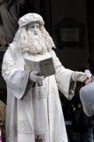 Street Artist - live sculpture Leonardo da Vinci. A street artist performing in outside the Uffizi gallery Royalty Free Stock Photography
