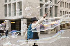 Soap bubbles in Stuttgart royalty free stock photo