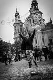 Street artist makes bubbles soap Royalty Free Stock Photos