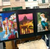 Street artist in Navona square - rome. Street artist in the famous square of rome royalty free stock photography