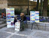Street Artist. Artist painting in Palma de Mallorca, Spain. 18 April, 2011 Royalty Free Stock Photography
