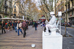 A street artist performs at Les Rambles street Stock Photo
