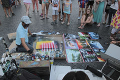 Street artist in Piazza Navona Stock Photography