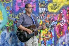 Street artist in Prague royalty free stock images