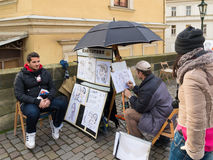 Street artist in prague Royalty Free Stock Photography