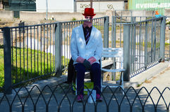 Street artist in Rome invisible man Royalty Free Stock Image