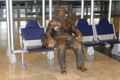 Street artist statue at Madrid Barajas Airport, Spain Royalty Free Stock Photos