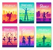 Street artists around the world brochure cards set. Speech on the alleys of the city template of flyear, magazines vector illustration