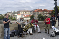 Street artists on Charles Bridge, Prague Royalty Free Stock Photos
