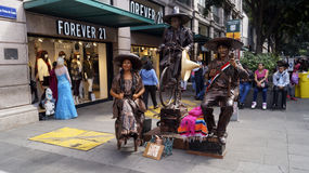 Street artists dress as a mexican revolution characters Royalty Free Stock Image
