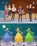 Street Artists Flat Cartoon Compositions. With illusionist show and girls in fairy costume dancing on stilts vector illustration Royalty Free Stock Images