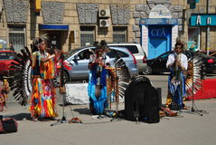 Street artists Indian folk music group Stock Images