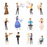 Street Artists Isolated Cartoon Icons. With mime busker juggler painter musician illusionist colored figurines flat vector illustration Stock Photography
