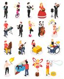 Street Artists Isometric People. Street artists musicians master of fire show magicians living statues and florist isometric people isolated vector illustration stock illustration