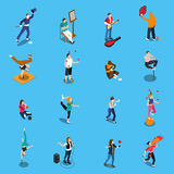Street Artists Isometric Set. With musicians, painter, acrobats, graffiti, dancer, pantomime on blue background isolated vector illustration Stock Photo