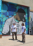 Street artists painting mural at Williamsburg in Brooklyn Stock Photo