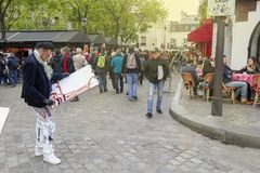 Street artists in Place du Tertre in Montmartre, Paris royalty free stock photo