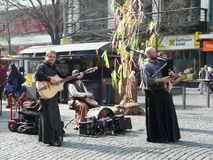Street artists playing on the sreet in Prague Royalty Free Stock Photography