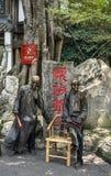 Street artists posing as statue stock photos