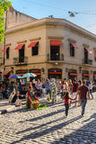 Street artists in San Telmo in Buenos Aires during the market royalty free stock photos