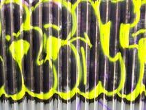 Graffiti. Street arts art in prague, sprayed works of street artists, painting on corrugated sheet metal stock photos