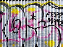 Graffiti. Street arts art in prague, sprayed works of street artists, painting on corrugated sheet metal royalty free stock photos