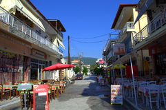 Street in Asprovalta town,Greece Royalty Free Stock Photo