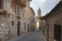 Street from Assisi. An old street from the town of Assisi, Umbria. The town of St Francisc stock images