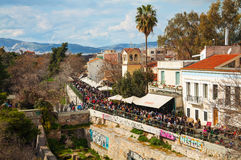 Street of Athens with tourists Stock Image