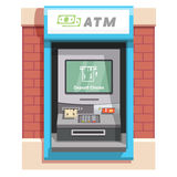 Street ATM teller machine with current operation Royalty Free Stock Images