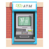 Street ATM teller machine with current operation Royalty Free Stock Photo