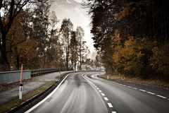 Street in autumn scene Royalty Free Stock Photography