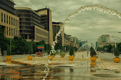 Street background of Putra Djaya, Malaysia. Street fountain and beautiful sky Stock Photo