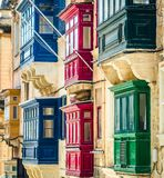 Street with balconies in Valletta Royalty Free Stock Image
