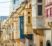 Street with balconies in Valletta. Street with traditional balconies in historical center of Valletta in Malta Royalty Free Stock Photos